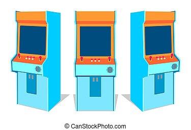 Arcade game machine on white background - Set of old arcade...