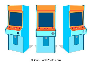 Arcade game machine on white background - Set of old arcade...