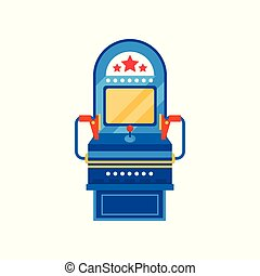 Arcade game machine, retro casino slot machine vector Illustration on a white background