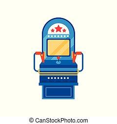Arcade game machine, retro casino slot machine vector Illustration on a white background