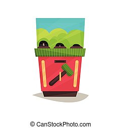 Arcade game machine with hammer vector Illustration on a white background