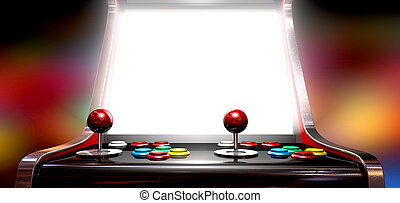 A vintage arcade game machine with colorful controllers and a bright illuminated screen on a bright arcade background