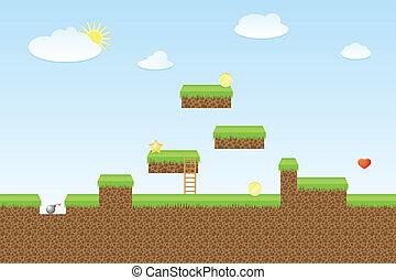 Arcade game world, vector illustration for game