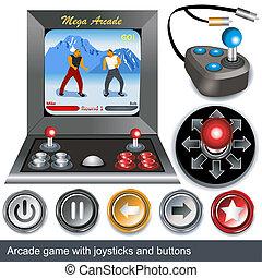 arcade games - Illustrations of arcade game with joysticks...