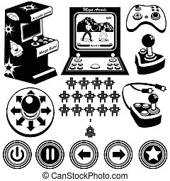 Arcade games icons - Vector black illustration of arcade...
