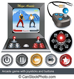 arcade games - Illustrations of arcade game with joysticks...