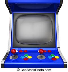 Arcade Machine Closeup - A vintage arcade game machine with...