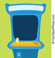 Arcade machine with blank screen - Cartoon illustration of a...
