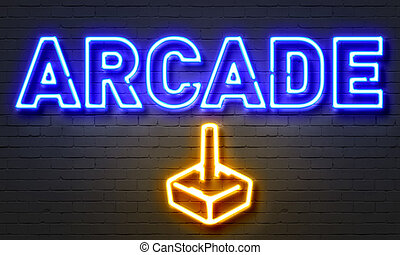 Arcade neon sign on brick wall background. - Arcade neon...