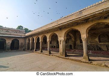 Arcade of Chand Baori Stepwell in Rajasthan, India.