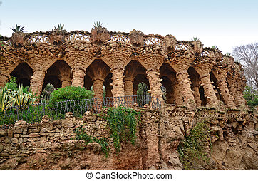 Arcade of stone columns, Park Guell
