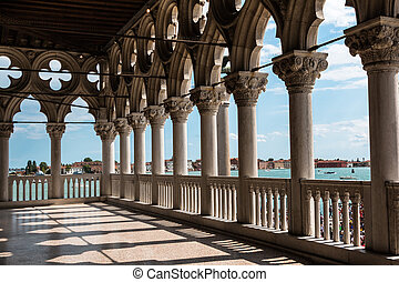Arcade of the Doge's Palace: Gothic architecture in Venice, Italy
