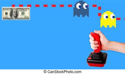 arcade, pacman, tegen, dollarbiljet