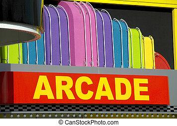 Arcade - Brightly colored arcade entrance sign