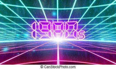 arcade, wireframe, vhs, 1980s, jeu, vecteur, vidéo, retro, 80s, bande, intro, paysage