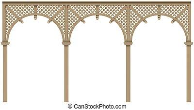 Arcade wooden veranda