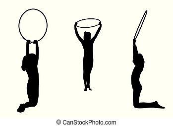 arceaux, filles, exécute, gymnastique, équipe