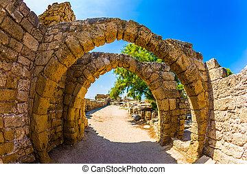 archéologique, caesarea, ancien, parc