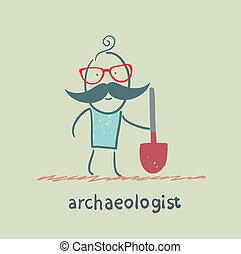 archéologue, pelle, tenue