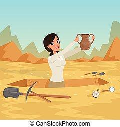 archéologue, vecteur, arrière-plan., rocheux, désert, girl, waist-deep, vieux, ciel, excavation., cruche, tools., hands., ancien, plat, objets, archéologique, fosse