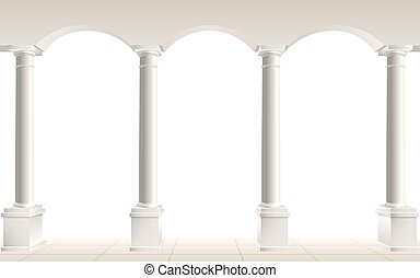 Colonnade with arches on a white background, vector illustration