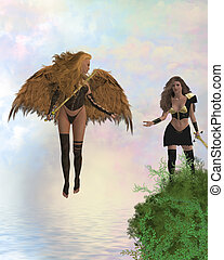 Arch Angel Offering Help - Arch angel offering help to a...