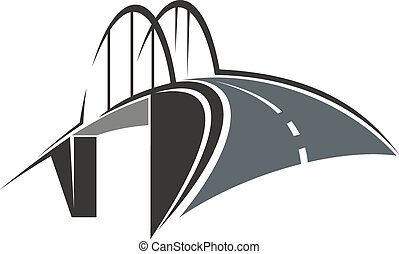 Arch bridge and road icon - Icon with road leading to the...