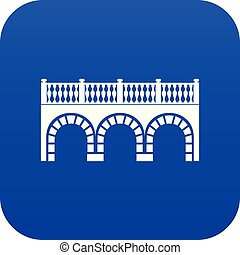 Arch bridge icon blue vector