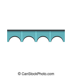 Arch bridge icon, flat style