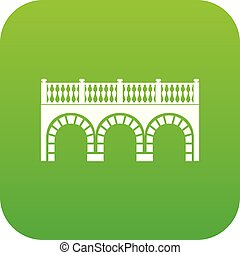 Arch bridge icon green vector