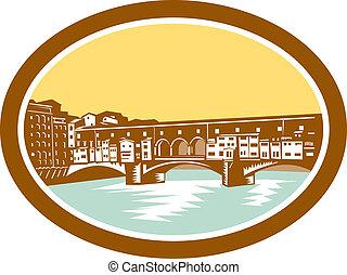 Arch Bridge Ponte Vecchio Florence Woodcut - Illustration of...
