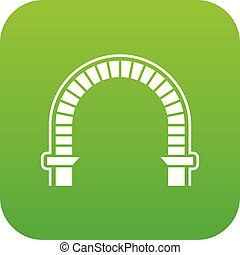 Arch column icon green vector isolated on white background