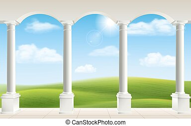 Arches and columns on landscape background.