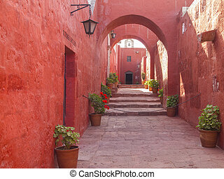 arch design of Monastery of Santa Catalina - Red painted...