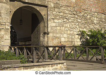 Arch entrance to the courtyard in Lviv