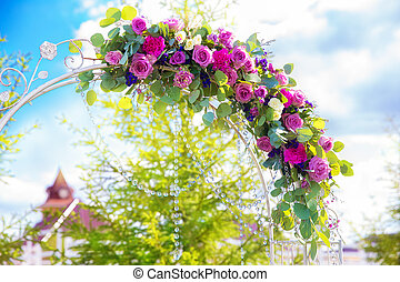 Arch for the wedding ceremony. Floristic composition in...