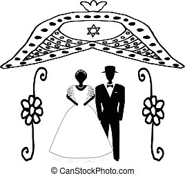 Arch for wedding vintage in flowers. The Jewish Hupa. Wedding hoop. Bride and groom. Doodle. Hand draw. Vector illustration on isolated background.