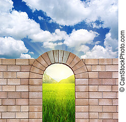 Arch from bricks. - Arch from bricks and nature. Element of ...