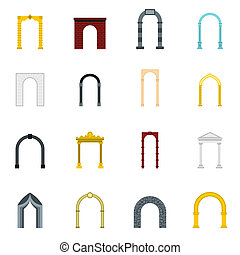 Arch icons set, flat style - Flat arch icons set. Universal...