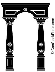 Arch in ancient Egyptian style or oriental style with floral...