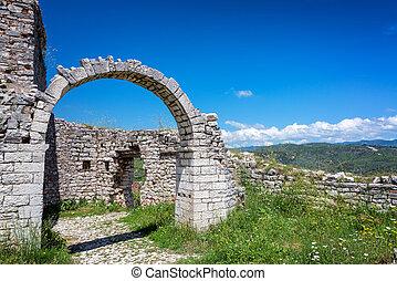 Arch in the historic ruins of Gjirokaster Castle in Gjirokaster, Albania