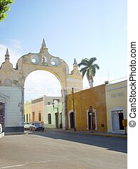 arch in merida city in Mexico traditional houses