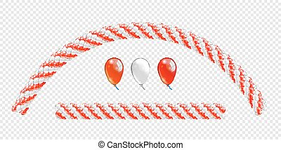 arch., objetos, balões, balloon, linha, cores, vetorial, fundo, guirlandas, branca, balloons., arco, transparente, vermelho, set.
