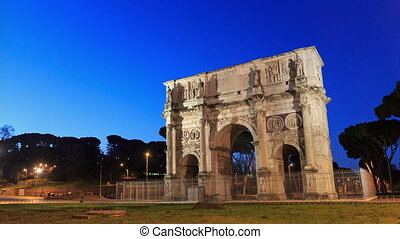 Arch of Constantine. Rome, Italy. Time Lapse