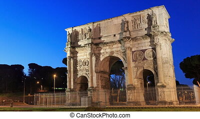 Arch of Constantine. Zoom. Rome, Italy. Time Lapse