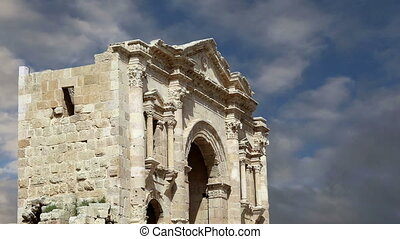 Arch of Hadrian in Gerasa (Jerash)-- was built to honor the visit of emperor Hadrian to Jerash in 129/130 AD, Jordan