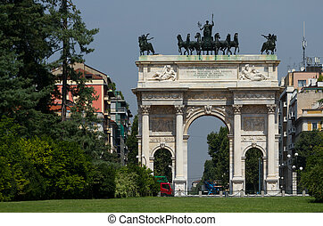 Arch of Peace in Sempione Park, Milan. - Arch of Peace in...