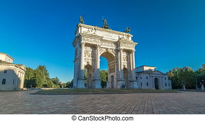 Arch of Peace in Simplon Square timelapse hyperlapse. It is...