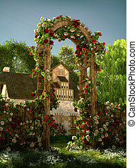Arch of Roses, 3d CG - 3D computer graphics of an arch of...
