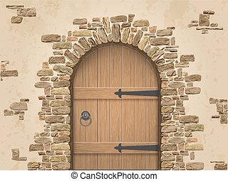 Arch of stone with closed wooden door. Entrance to the wine ...